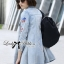 DR-LR-260 Lady Amy Glittering Sequin Snoopy Denim Shirt Mini Dres thumbnail 4