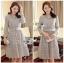 Lady Aliza Classic Vintage Plain Lace Dress with Belt L273-7909 thumbnail 11