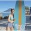 SM-V1-475 ชุดว่ายน้ำเอวสูง บราสีฟ้า กางเกงลายเส้นสลับสีน้ำเงินขาว thumbnail 5