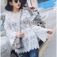 Lady Ashley Sweet Classic Lace Peplum Top in White L261-6909 thumbnail 7