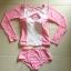 SM-V1-498 ชุดว่ายน้ำแขนยาวสีชมพูขาว เสื้อเปิดร่องอกเซ็กซี่ (เสื้อแขนยาว+บิกินี่) thumbnail 11