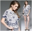 Lady Olivia Blue and White Flower Laser-Cut Cropped Top and Shorts Set L264-7904 thumbnail 5