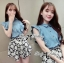 DS-PP-036 Lady Marry Ruffle Denim Shirt and Flowery Skirt Set thumbnail 2