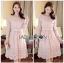 Lady Aliza Classic Vintage Plain Lace Dress with Belt L273-7909 thumbnail 3