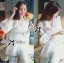 DR-LR-238 Lady Grace Insert Crochet Kaftan Dress in White thumbnail 10