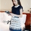 DR-LR-209 Lady Claire Mixed Print Sleeveless Insert Chiffon Shirt Dress thumbnail 3