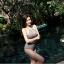 SM-V1-671 ชุดว่ายน้ำเอวสูง สีดำลายดอกไม้ขาวเล็กๆ หน้าอกผ้าซีทรู thumbnail 11