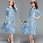 Grace Floral Embroidered Denim Shirt Dress with Belt L219-95C06 thumbnail 12
