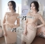 DR-LR-220 lady Elisa Classy Glam Embellished Insert Lace Dress in Nude