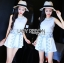 Lady Janet Blue and White Embroidered Cropped Top and High-Waist Shorts Set L272-7902 thumbnail 9
