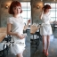 DR-LR-053 Lady Pure White Blossom Embroidery Gala Mini dress thumbnail 11