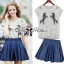 Lady Embroidered Horse Print Top and Denim Flared Skirt Set L120-75D15 thumbnail 1