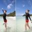 SM-V1-579 ชุดว่ายน้ำแขนยาว เสื้อสีดำ กางเกงขาสั้นสีแดงสวย ๆ thumbnail 7