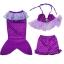NB010 ชุดว่ายน้ำเด็ก หางนางเงือก มีเกล็ด สีม่วง เสื้อมีระบาย พร้อมกระโปรง สามารถนำขาออกได้ 1 ชุด มี 3 ชิ้น