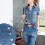 Lady Alison Sporty Elegant Embellished Denim Pantsuit wit Belt L199-95C07 thumbnail 3