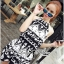 DS-PP-039 Lady Ashley Printed Playsuit in Black and White thumbnail 5