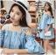 Lady Victoria Casual Chic Off-Shoulder Soft Denim Dress L264-6922 thumbnail 4