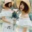 Lady Chloe Feminine Off-Shoulder Cotton and Lace Dress L188-75C08 thumbnail 9