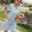 Lady Jill Geometry Flared-Sleeved Brocade Denim Dress L193-69C05 thumbnail 14