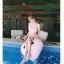 SM-V1-638 ชุดว่ายน้ำเอวสูง บราเกาะอกแต่งช่อลูกไม้สวยๆ กางเกงสีชมพู thumbnail 6