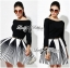 DR-LR-276 Lady Minimal Chic Graphic Striped Dress thumbnail 1