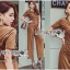 Lady Lyla Modern Minimal Chic Lacy Camel Jumpsuit L258-7905 thumbnail 6