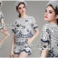 Lady Olivia Blue and White Flower Laser-Cut Cropped Top and Shorts Set L264-7904 thumbnail 2