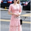 Lady Carly Feminine Pinky Striped Lace Maxi Dress L268-7902 thumbnail 5