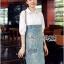 Lady Coco Cotton White Shirt with Denim Skirt Dress L202-69B10 thumbnail 7