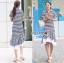 Lady Minimal Chic Striped Collared Peplum Dress L271-7503 thumbnail 9