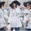 Lady Ashley Sweet Classic Lace Peplum Top in White L261-6909 thumbnail 3