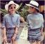 Lady Ashley Tribal Chic Denim Shirt and Printed Skirt Set L180-79C12 thumbnail 3