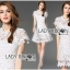 Lady Gabriela Crystal Embellished Flower White Lace Dress L263-8909 thumbnail 7