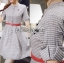 Lady Sara Minimal Asymmetric Grey Dress with Red Belt L250-69C09 thumbnail 3