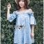 Lady Victoria Casual Chic Off-Shoulder Soft Denim Dress L264-6922 thumbnail 11