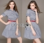 Lady Sara Minimal Asymmetric Grey Dress with Red Belt L250-69C09 thumbnail 7