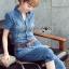 Lady Alison Sporty Elegant Embellished Denim Pantsuit wit Belt L199-95C07 thumbnail 2