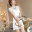 DR-LR-053 Lady Pure White Blossom Embroidery Gala Mini dress thumbnail 5