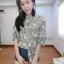 เสื้อคอจีนแขนสั้น ผ้าดีปริ้นท์ลายดอกไม้นูนสวยเฟอร์ thumbnail 3