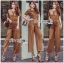 Lady Lyla Modern Minimal Chic Lacy Camel Jumpsuit L258-7905 thumbnail 1