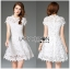 Lady Gabriela Crystal Embellished Flower White Lace Dress L263-8909 thumbnail 6
