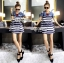Lady Rita Casual Style Cut-Out Denim Striped Dress L213-65C05 thumbnail 1