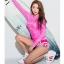 SM-V1-649 ชุดว่ายน้ำแขนยาว สีชมพูสวย กางเกงขาสั้นสีสันสดใส thumbnail 4