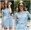 Stephanie Sweet and Chic Baby Blue Lace Dress with Belt L219-89C11 thumbnail 1