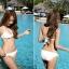 SM-V1-446 ชุดว่ายน้ำ เซ็ต 3 ชิ้น สีขาวครีม บรา+บิกินี่+เสื้อตาข่าย thumbnail 17