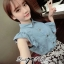 DS-PP-036 Lady Marry Ruffle Denim Shirt and Flowery Skirt Set thumbnail 4
