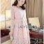 Lady Aliza Classic Vintage Plain Lace Dress with Belt L273-7909 thumbnail 2