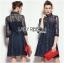 Lady Kim Sexy Elegant Lace and Denim Shirt Dress L199-79C04 thumbnail 1