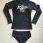 SM-V1-518 ชุดว่ายน้ำแขนยาว สีดำ สกรีนอักษรที่หน้าอก กางเกงบิกินี่ thumbnail 2