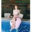 SM-V1-638 ชุดว่ายน้ำเอวสูง บราเกาะอกแต่งช่อลูกไม้สวยๆ กางเกงสีชมพู thumbnail 11